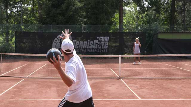 Using One –Arm, Frontal Medicine Ball Throws to Improve the Serve