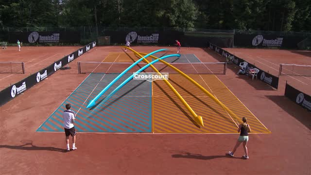 Warm up strokes: Crosscourt and Down the line using the Alley