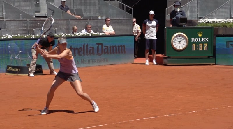Maria Sharapova prepares to hit a forehand with a backswing