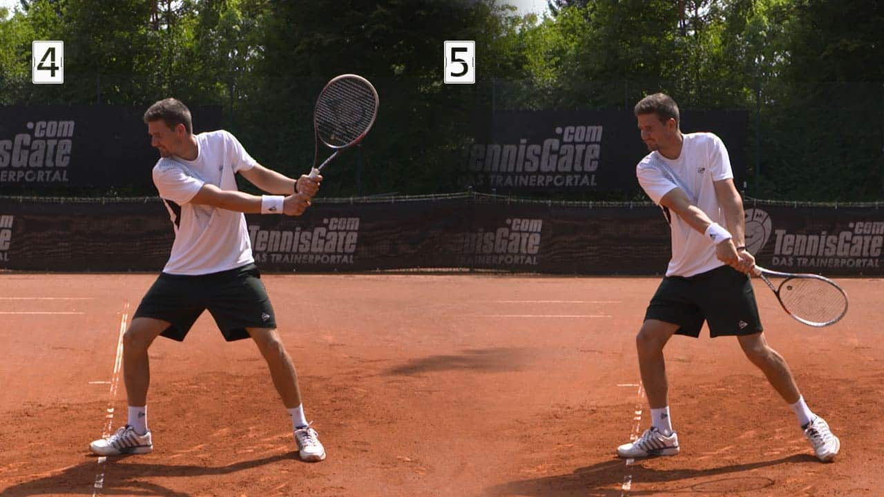 Backswing for the two handed backhand